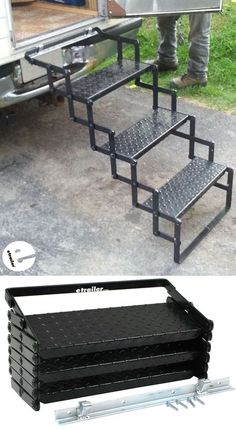 These Truck Bed Camper steps are sturdy, and well constructed. The mounting hardware/bracket are easy to install and make it easy to add/remove the steps from my slide-in camper with ease. The steps lock shut when folded up, making them easy to transport.