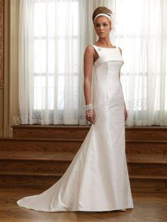 Shantung Bateau Neckline banded Bodice A-line Wedding Dress