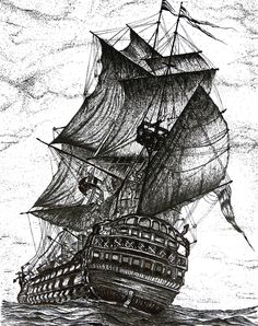 Galleons serie, pen and ink drawing