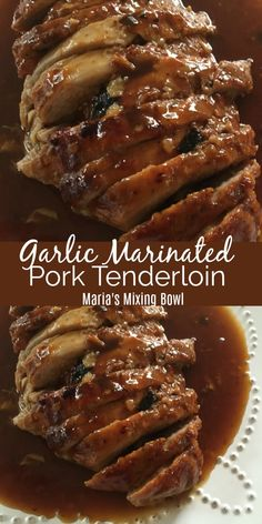 Garlic Marinated Pork Tenderloin - A tried and true, quick and easy recipe for roasted pork tenderloin. So juicy, tender & delicious! Informations About Garlic Marinated Pork Tenderloin Pin You can ea Baked Meat Recipes, Slow Cooker Meat Recipes, Healthy Meat Recipes, Meat Recipes For Dinner, Cooking Recipes, Pork Loon Recipes, Easy Pork Recipes, Crockpot Meat, Meat Meals