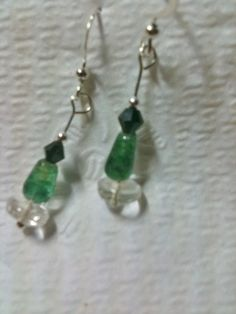 Flourite chrysocolla and swarvoski crystal by jackiesjewells, $10.00