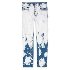 Gucci Hand-Bleached Denim Pant ($600) ❤ liked on Polyvore featuring pants, bleached pants, splatter pants, white pants, white trousers and relaxed pants