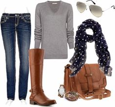 Light grey sweater, jeans, brown long boots, scarf, handbag and sunglasses for fall