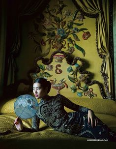 Liu Wen wears gorgeous gowns and dresses Pose in Harper's Bazaar China Magazine December 2015 issue Photoshoot