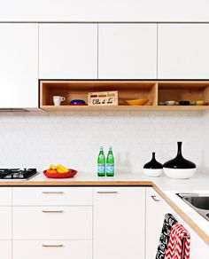 Formica countertops with wood siding