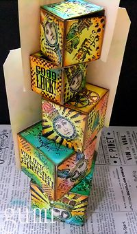 Amazing Artist Trading Blocks {April} ATB Tag Tower by Gumi Hiraoka Altered Boxes, Altered Art, Wood Block Crafts, Paper Art, Paper Crafts, Assemblage Art, Artist Trading Cards, Mail Art, Box Art