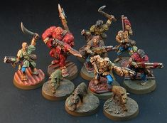 This is Not a Test: Painted Raider Warband Warhammer Fantasy, Warhammer 40k, Necromunda Gangs, Post Apocalyptic Games, Sci Fi Miniatures, Fantasy Wizard, Raiders, Action Figures, Sculptures