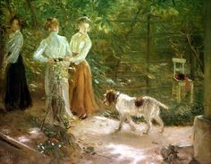 View of the artist's garden with his daughters ~ Fritz von Uhde ~ (German: 1848-1911)