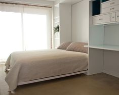 Apartment, Excellent Modern Home Office With Cool Murphy Bed Also Antique White Quilt Color With Brown Concrete Floor Also Huge Window With ...