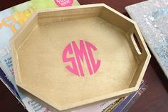 wood tray with pink monogram