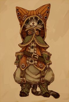 Von 亗 Dr. Emporio Efikz 亗 ursprünglich geteilt in Capharnaum Steampunk (Painting / Digital Art / Illustration): 「服ねこ」/「エフ」のイラスト Chat Steampunk, Steampunk Kunst, Steampunk Drawing, Character Concept, Character Art, Concept Art, Fantasy Kunst, Fantasy Art, Art Graphique