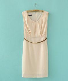 Elegant stylische ärmellos Kleid Apricot