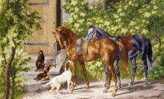 Stickerei Pferde auf der Veranda