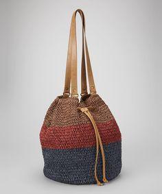 Love this Brown Color Block Straw Bucket Bag on #zulily! #zulilyfinds