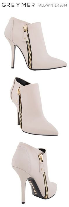 GREYMER SHOES fall-winter 2014. A rock - glamour napa calfskin ankle boot with zip in gold coloured metal.