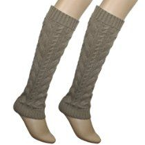 Dahlia Womens Soft Acrylic Knit Leg Warmers - Cable Knit Boot Shaft Style