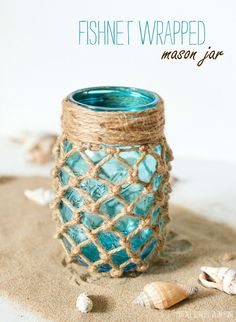 Fishnet Wrapped Mason Jar - Beach Decor Ideas