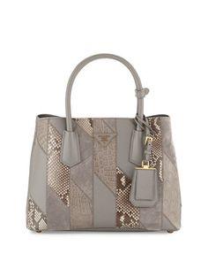 Prada Python & Crocodile Patchwork Small Tote Bag (=)