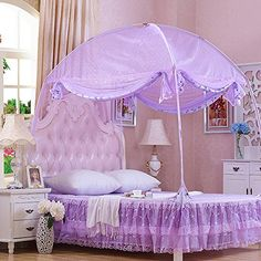CdyBox Princess Mosquito Net Bed Tent Canopy Curtains Netting with Stand Fits Twin Full Queen Bed Net Canopy, Queen Size Canopy Bed, Bed Tent, Canopy Curtains, Cool Kids Bedrooms, Girls Bedroom, Bedroom Decor, Disney Princess Room, Purple Bedding