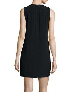 Sleeveless Fringe-Trim Silk Shift Dress, Black