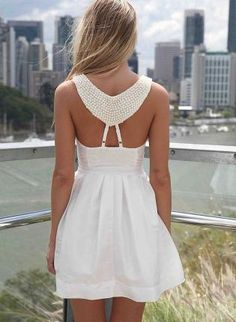 White Dress with Beaded Back Detail & Pleated Skirt,  Dress, embellished dress pleated skirt, Chic