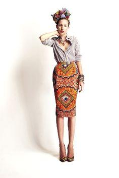 wax print pencil skirt | Stella Jean SS 12