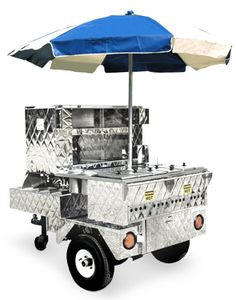 Over The Road Mobile Hot Dog Cart with Umbrella