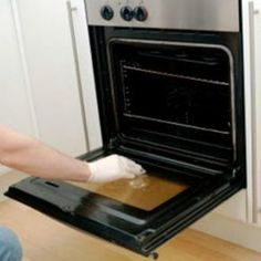 How to clean inside double glass oven doors. Note: If normal glass cleaner does not remove the debris, try the cleaning products designed for glass stove tops. They're stronger than glass cleaner and designed to remove food debris.