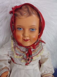 "BEAUTIFUL LARGE ANTIQUE CELLULOID DOLL RUSSIAN HEIDI 19"" - 48.6cm & CLOTHES"