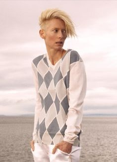 200 Years | Explore Pringle of Scotland, Tilda Swinton models classic Pringle sweater