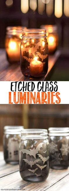 How to make faux etched glass halloween mason jar luminaries