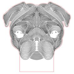 Pug dog 3d illusion lamp plan vector file for CNC - 3bee-studio