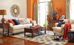 what would mine look like?Warm and inviting color palette: neutrals with navy and buttered yam Pier 1 Imports Navy Living Rooms, Home Living Room, Living Room Decor, Pier 1 Living Room Ideas, Living Room Color Schemes, Living Room Colors, Living Room Designs, Home Decor Furniture, Living Room Furniture