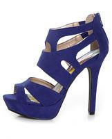 Blue Suede Strappy Bootie Pumps