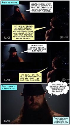 Dean is not freaked out by your weirdness, Bray Wyatt! credit JenJ@forever_ambrose