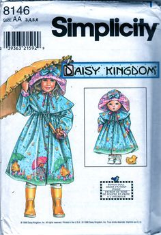Simplicity 8146 Childs Raincoat and Rain Hat Pattern and American Girl Doll Clothes seiwng pattern  by mbchills