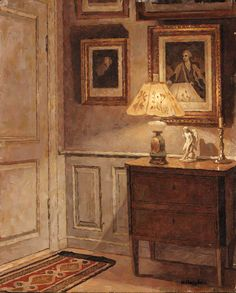 ◇ Artful Interiors ◇ paintings of beautiful rooms - NIELS HOLSOE (1865-1928) A Cozy Corner
