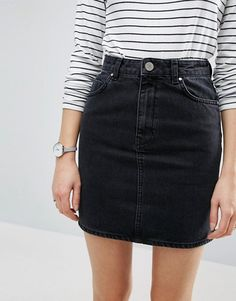 DESIGN Petite denim wrap skirt with buttons in midwash blue Shop the latest ASOS DESIGN Petite denim wrap skirt with buttons in midwash blue trends with ASOS! Free delivery and returns (Ts&Cs apply), order today! Denim Wrap Skirt, Denim Skirt Outfits, Black Denim Skirt Outfit Summer, High Waisted Denim Skirt, Denim Outfit, Denim Overalls, A Skirt, Outfits With Jean Skirt, Denim Skirt Winter