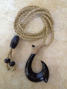Real Hawaiian Fish Hook Carved From Buffalo Horn  . comes With 1yeat Warranty