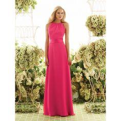 chiffon formal dresses fushia   Fuschia Chiffon Long Halter Bridesmaid Dress hibmal7