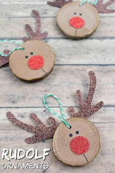 super Rudolf Christmas Craft: DIY Craft for Kids Kids Crafts easy diy christmas crafts for kids Christmas Decorations For Kids, Winter Crafts For Kids, Diy Christmas Ornaments, Holiday Crafts, Christmas Gifts, Reindeer Ornaments, Rudolph Christmas, Christmas Goodies, Wooden Reindeer