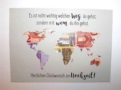 Dein Geldgeschenk zur Hochzeit ist schon fast fertig. Füge einfach noch das Geld und einen eigenen Rahmen hinzu! Ich kann die Weltkarte in den folgenden Größen herstellen: 13 * 18 cm oder 15 * 20...