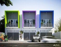 Ruko Simple Colors on Behance Row House Design, Duplex House Design, Home Room Design, Apartment Design, Townhouse Exterior, Modern Townhouse, Colour Architecture, Modern Architecture, Facade Design