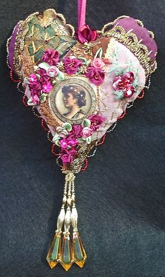 I ❤ crazy quilting ribbon embroidery . . . CQ heart ~By Judy's Fabrications