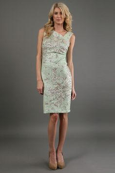 The Asymetric Print Dress in Pistachio by Kay Unger New York at CoutureCandy.com