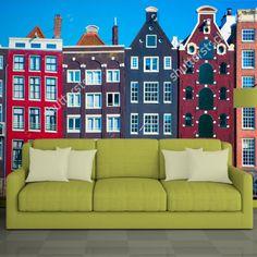 Fotobehang Oudhollandse huisjes   Maak het jezelf eenvoudig en bestel fotobehang voorzien van een lijmlaag bij YouPri om zo gemakkelijk jouw woonruimte een nieuwe stijl te geven. Voor het behangen heb je alleen water nodig! #behang #fotobehang #print #opdruk #afbeelding #diy #behangen #holland #nederland #hollands #huizen #huisjes #architectuur #kleuren