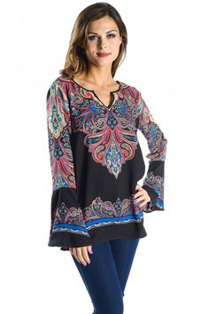 Floral Paisley Border Print Blouse with Notched V Neckline, Bell Sleeve Woven Top with Open Back Detail