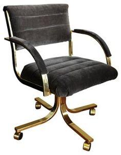 Brass Desk Chair w/ Gray Velvet