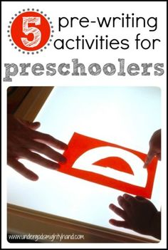 6. This site tells you how to do 5 different activities that will help prepare preschoolers for writing and why they are important.