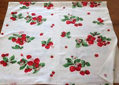 Vintage Strawberry Strawberries Printed Tablecloth by AStringorTwo, $30.00